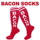 BACON SOCKS KNEE HIGH RED & WHITE UNISEX GYM ATHLETIC SPORTS RETRO TUBE SOCK NWT