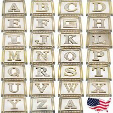 Initial Letters A To Z Western Style Cowboy Rodeo Gold Large Square Belt Buckle