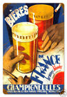 """Beers of France very colorful French bar/pub metal sign 12x18"""""""