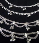 Ethnic lot 4 silver bells chain anklet ankle bracelet belly dance Indian ATS 10""