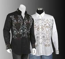 Men's Cotton Stylish Casual Embroidered Western Shirt #37 Black & White