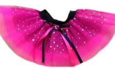 NEON TUTU SKIRT 80'S FANCY DRESS PARTY PINK SPARKLE DIAMANTE KIDS BABY TODDLER