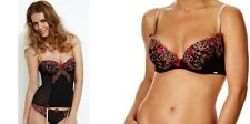 ALL SIZES BLACK PINK GOLD LEPEL EMBROIDERED FLORAL FIFI FULL CUP BRA OR BASQUE
