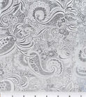 "WHITE & SILVER PAISLEY METALLIC BROCADE 60""W FABRIC WAISTCOAT DRESS TABLE CLOTH"