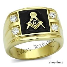 Men's 14k IP Gold Stainless Steel AAA CZ Masonic Freemason Ring Band Size 8-14