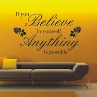 Inspirational Believe in Yourself Quote Wall Art Sticker, Wall Decal - PD234