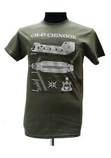 Chinook CH-47 Helicopter -United States / Military T Shirt with blueprint design