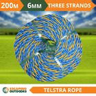 Telstra Rope 200 metre roll, 6mm 3 strand, floats on water, quality all purpose