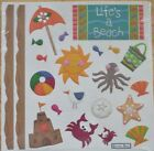 LIFE IS A BEACH OCEAN SANDCASTLE VACATION EMBOSSED SCRAPBOOK KIT MAKES EASY PAGE