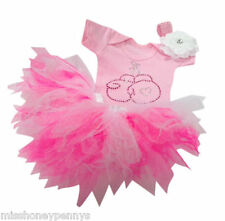 Neon Tutu Skirt 80's Fancy Dress Party Costume Set Pink Sparkle Baby Toddler Flo