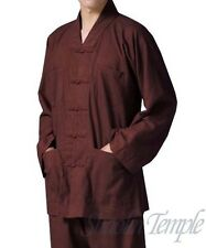 shaolin monk gown~chinese suit kung fu buddhist meditation taichi coffee colors