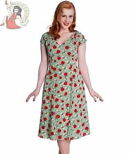 HELL BUNNY 40s SHEILA summer APPLE wartime tea DRESS GREEN