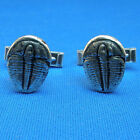 "Sterling Silver Elrathia kingi trilobite cuff links, hand crafted, 5/8"" x 1/2"""