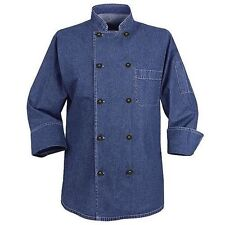 CHEF DESIGNS Men's Blue/Black Denim 100% Cotton Chef Coat KD84