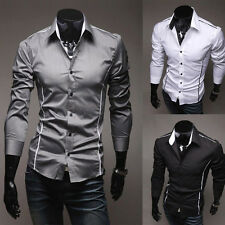 New Fashion Mens Luxury Long Sleeve Casual Slim Fit Stylish Dress Shirts Black