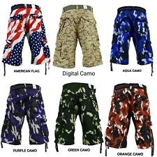 Men's FOCUS Army Camo Cargo Shorts Sizes: 30 - 44