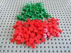 Lego Lot of new Red Flowers and green stems