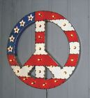 Large Peace Flag Art Sign Vintage Industrial Hanging Metal Sign Mitch Levin New