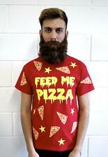 FEED ME PIZZA T-SHIRT -JUNK FAST FOOD TOP VTG FUN HIPSTER