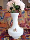 "Vase,White Glass Vintage-12 1/2"" - Gone With The Wind Rose Pattern- Beautiful"
