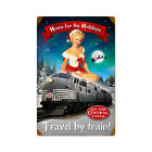 New York Central System Railroad metal sign w/sexy Christmas pin up 12x18 inches
