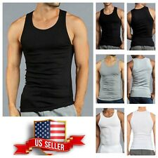 6 Mens Black WHT Tank Top 100% Cotton A-Shirt  Lot Wife Beater Ribbed Undershirt