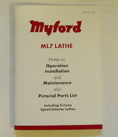 NEW REVISED MYFORD ML7 LATHE OPERATION & PARTS MANUAL  FROM MYFORD LTD