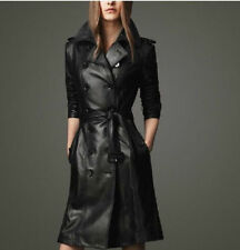 2014 Fashion Women's Pu Leather Trench Parka Long Coat Jacket With Belt