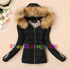 2014 New Fashion Women's Slim Short Coat Fur collar Hooded Padded Ladies Jacket