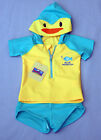 Boy's 2 Pc Blue & Yellow Hooded Penguin Rash Top and Trunks Swimsuit - Size 2