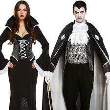 Gothic Vampires Fancy Dress Halloween Dracula Mens Ladies Adult Costume Outfit