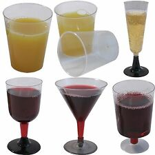 DISPOSABLE PLASTIC GLASSES, CHAMPAGNE, WINE, JUICE, PARTY, PLASTIC, FLUTES CUPS