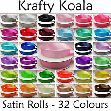 Double Sided Satin Ribbon 32 Colours 25/50 Metre Roll 3mm 6mm 10mm 15mm