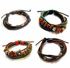12mm Unisex Trendy Metal Black Brown Blue Leather Bracelet Wristband Men Women