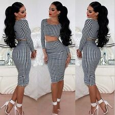 Womens Crop Top and Skirt Set Sexy Long Sleeve Two-piece Bodycon Short Dress