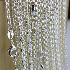 """New Wholesale 5Pcs 925 Sterling Silver 2mm Circle Rolo Chain Necklace 16""""-30"""""""