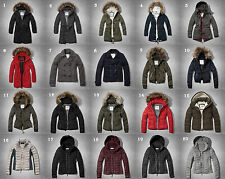 NWT Abercrombie & Fitch Womens Jacket Coat Parka Puffer Fur Navy Olive Black
