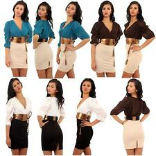 New Ladies Two Tone Colored Rope Tie Belted Party Dress 8-14