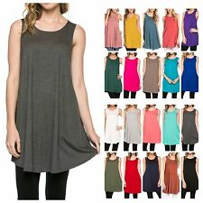 USA Women Casual Sleeveless Long Tunic Dress Solid Top Scoop Neck T-Shirt  S~ XL