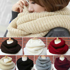 Sweet Soft Women Warm Infinity Two Circle Cable Knit Cowl Neck Long Scarf Shawl