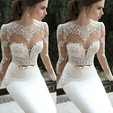 Women Formal Lace Prom Ball Wedding Long Dress Bridesmaid Evening Gown Sexy