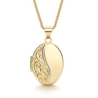 9ct Yellow Gold Engraved Oval Locket With Chain