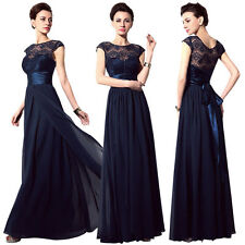 Long Lace Chiffon Plus Size Formal Evening Prom Gown Bridesmaid Party Ball Dress