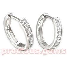 Unisex 9ct White Gold Diamond Set Huggy Hoop Earrings (Single or Pair)