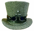 Steampunk madhatter Handmade grey tweed Tophat with optical goggles blue lens