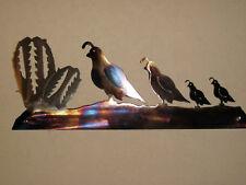 QUAIL FAMILY 2 BABIES  PLASMA METAL ART WALL HANGING