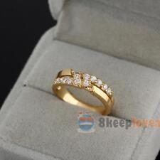 Luxury Women Lady 18K Gold Filled Crystal Party Wedding Ring Fashion New Jewelry