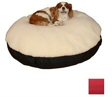 Cream/Red Polyester/Cotton Round Dog Bed lounge Cat Bed Medium Breed Dog Supply