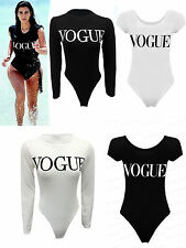 Women Ladies Celeb Inspire Vogue Printed Plain Stretch Sexy Bodysuit Top 6-14