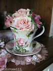 Shabby Porcelain Tea Cup & Saucer Classic Rose Pot Planter 23CM